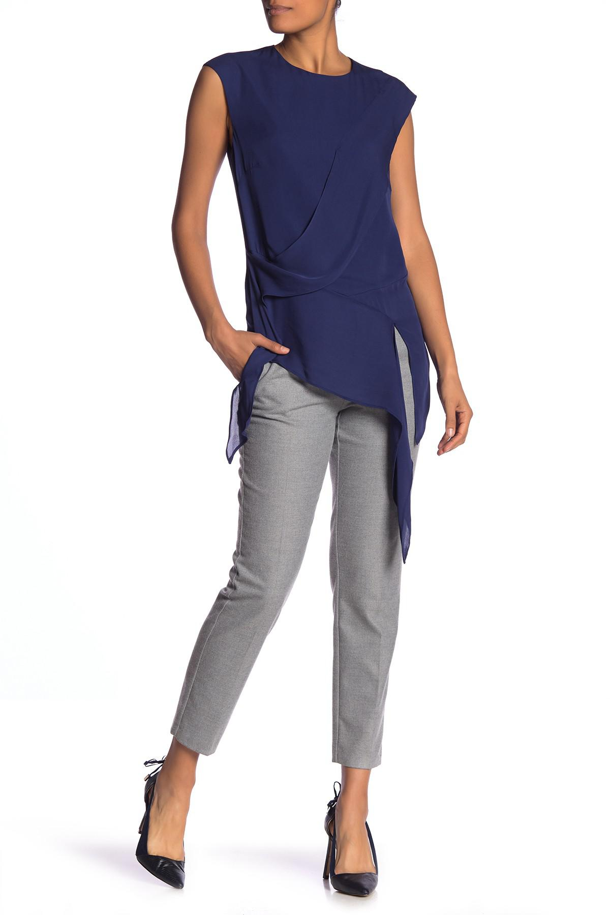 ac861738fb0 Lyst - Nicole Miller Sleeveless Solid Silk Asymmetrical Blouse in Blue