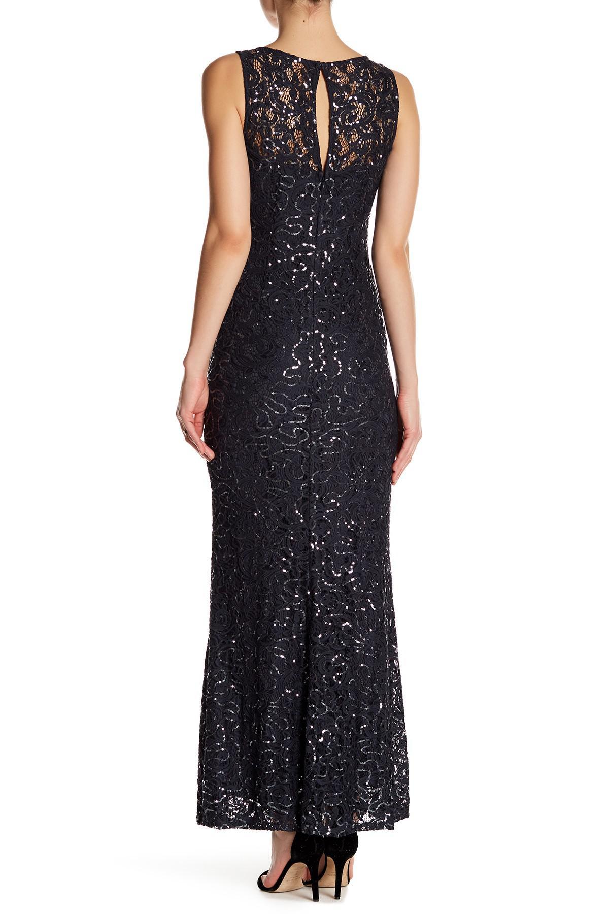 8597bbcf198dfd Marina - Black Sleeveless Illusion Yoke Lace Gown - Lyst. View fullscreen
