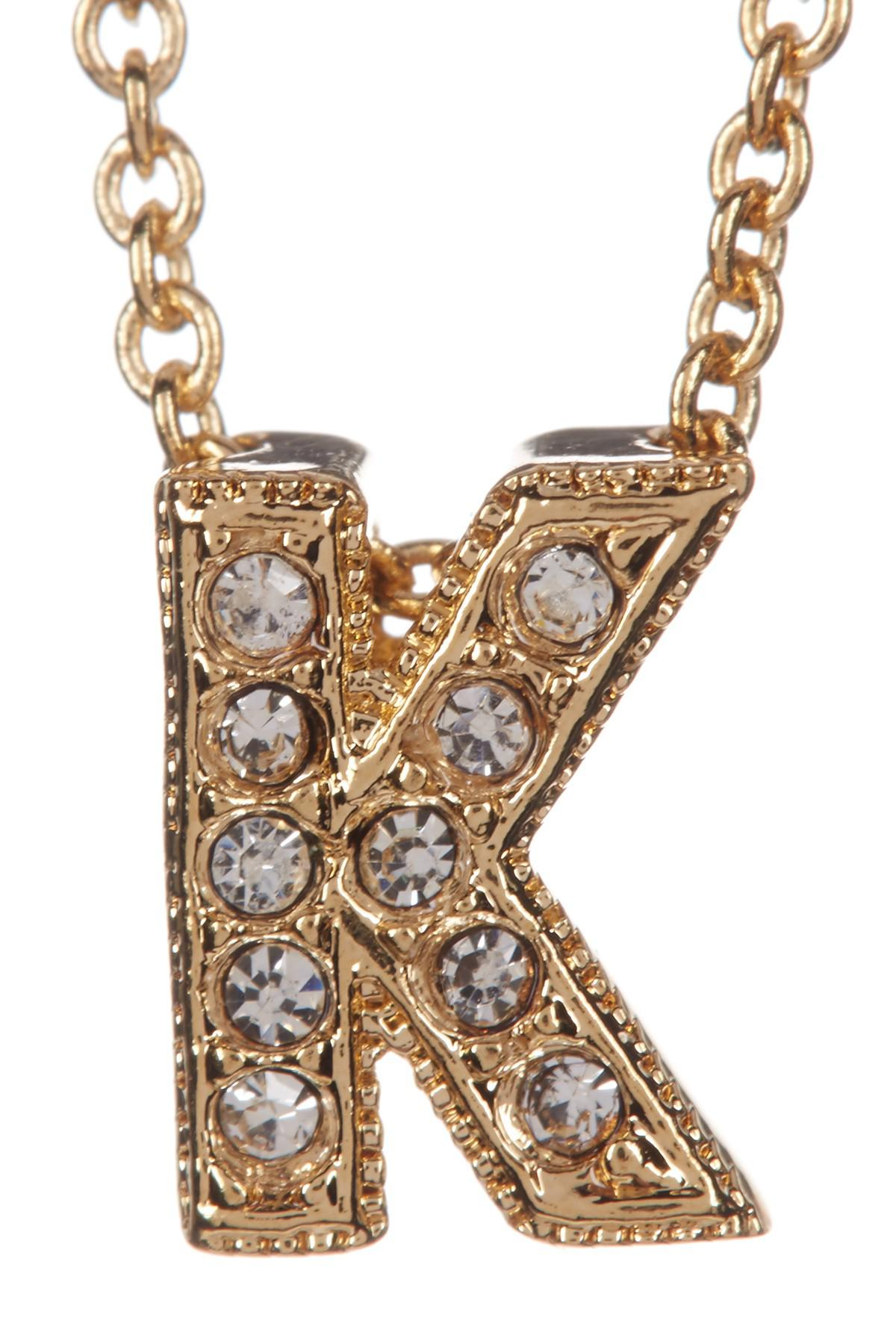 8ed8c7398e7bbf Nadri 18k Yellow Gold Plated Pave K Initial Pendant Necklace In