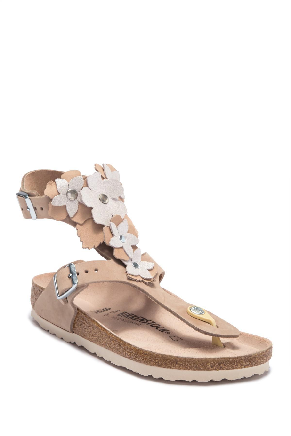 61315714298 Lyst - Birkenstock Gizeh Lux Leather Flower   Fringe Sandal in Natural