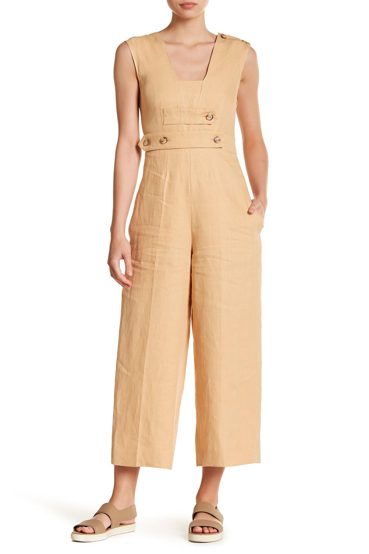 2c85a56c6fe Lyst - Max Mara Bray Linen Overall Jumpsuit in Natural