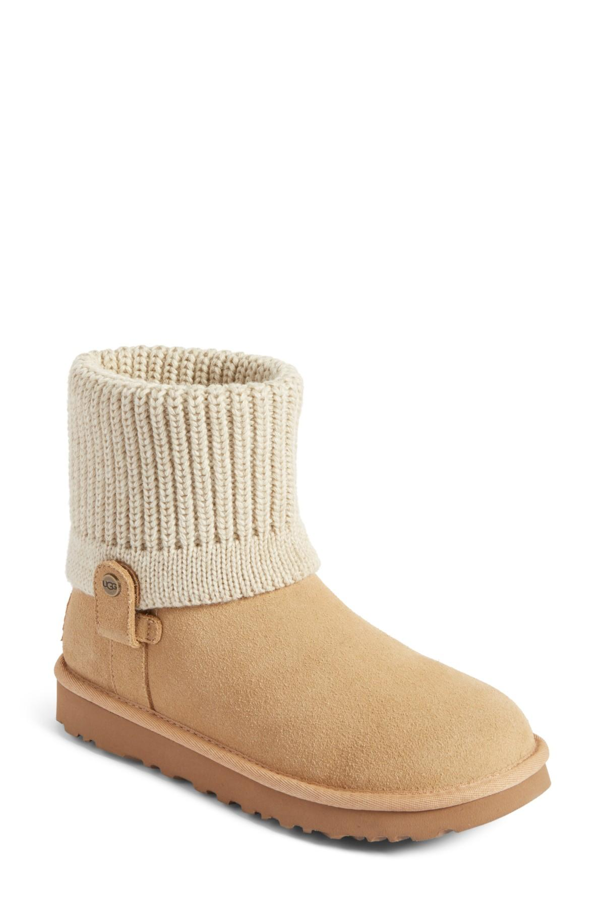 d5db92105b4 UGG Saela Rib-knit Cuff Pure(tm) Lined Boot in Natural - Lyst