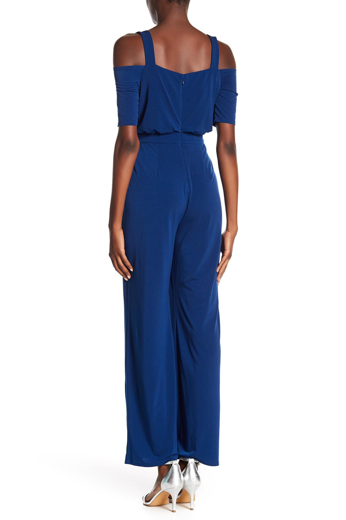 Lyst Vince Camuto Cold Shoulder Jumpsuit In Blue