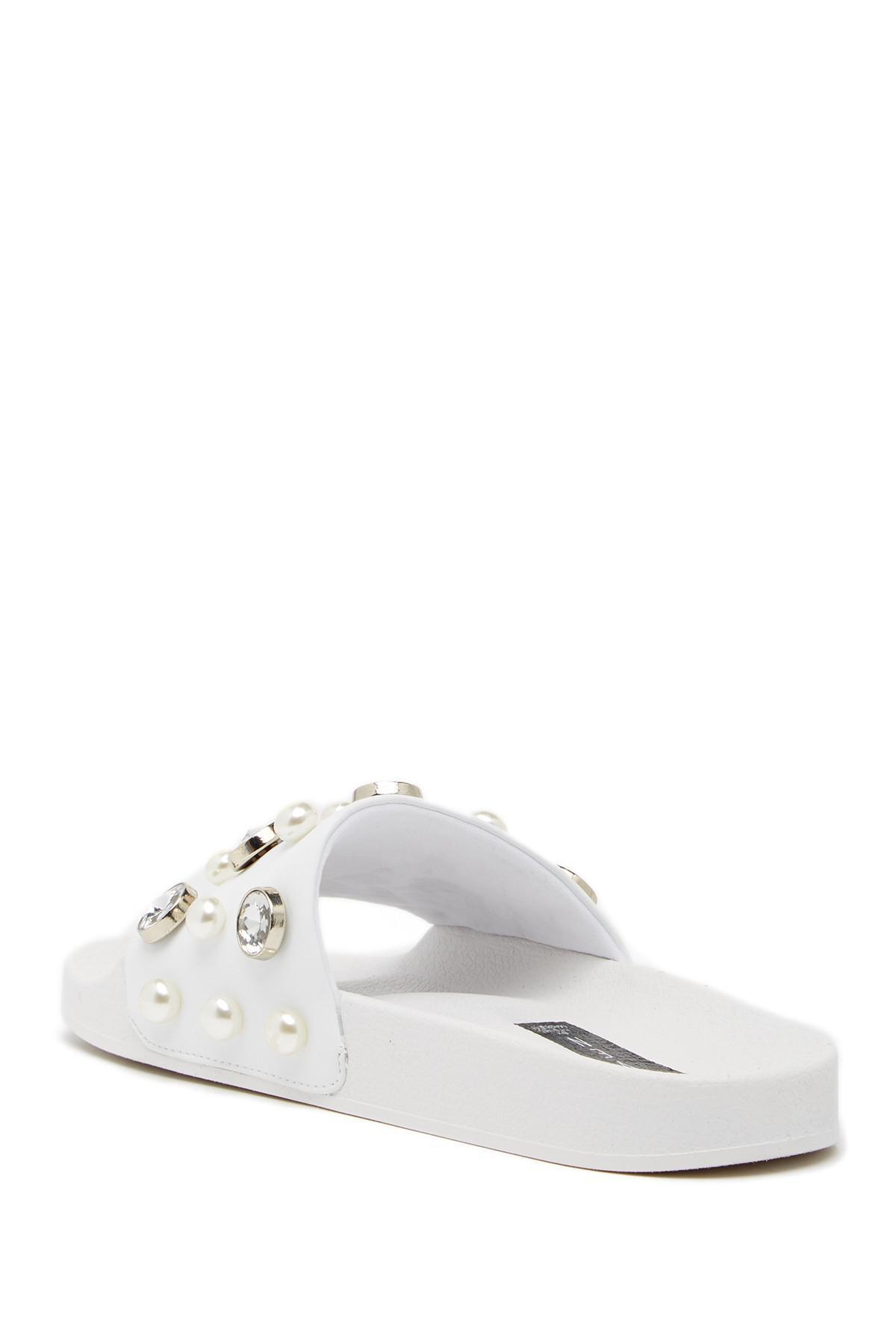 c4444f8db49 Lyst - Steven by Steve Madden Sahil Embellished Slide Sandal in White