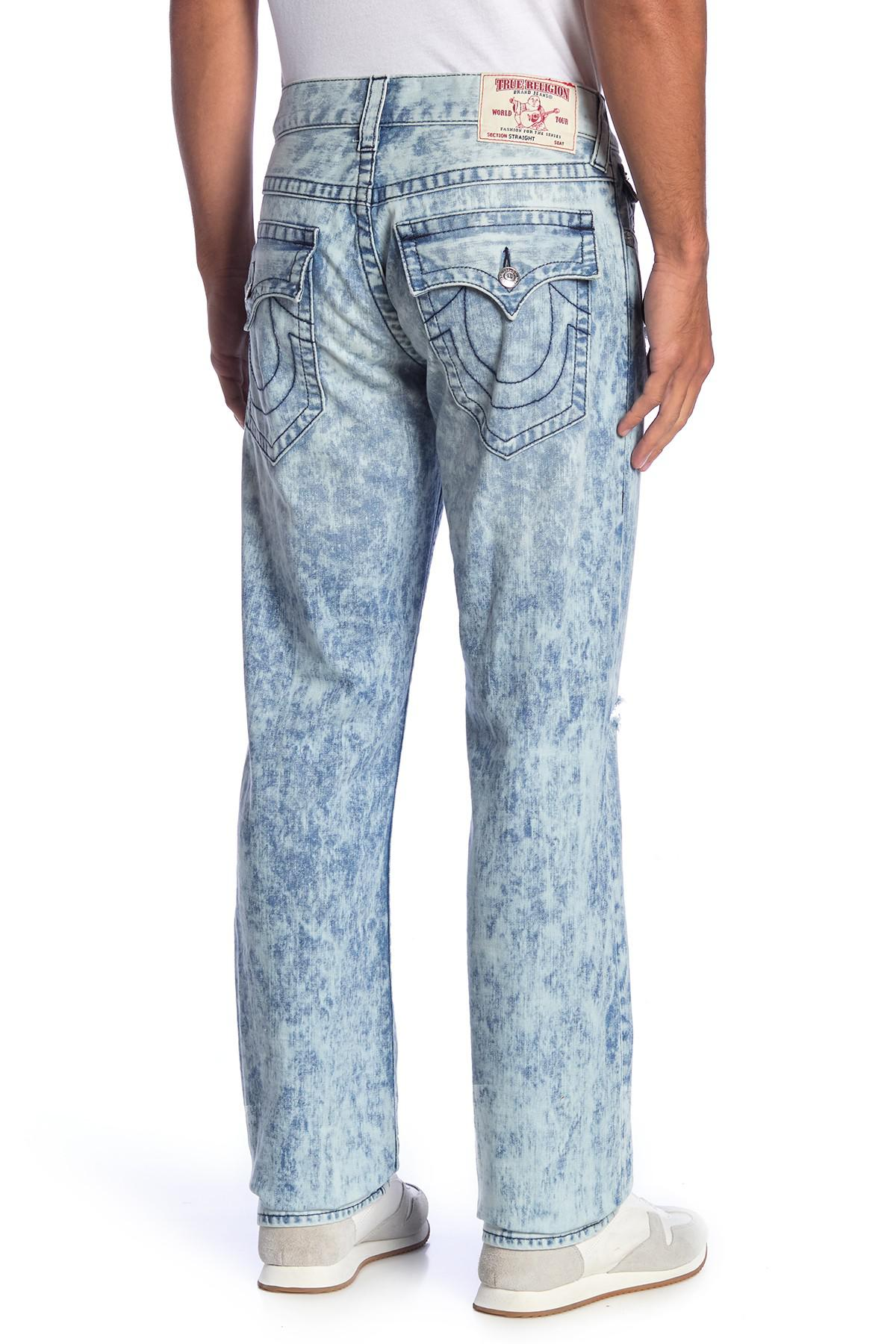02bd88c88 True Religion - Blue Distressed Faded Straight Leg Jeans for Men - Lyst.  View fullscreen