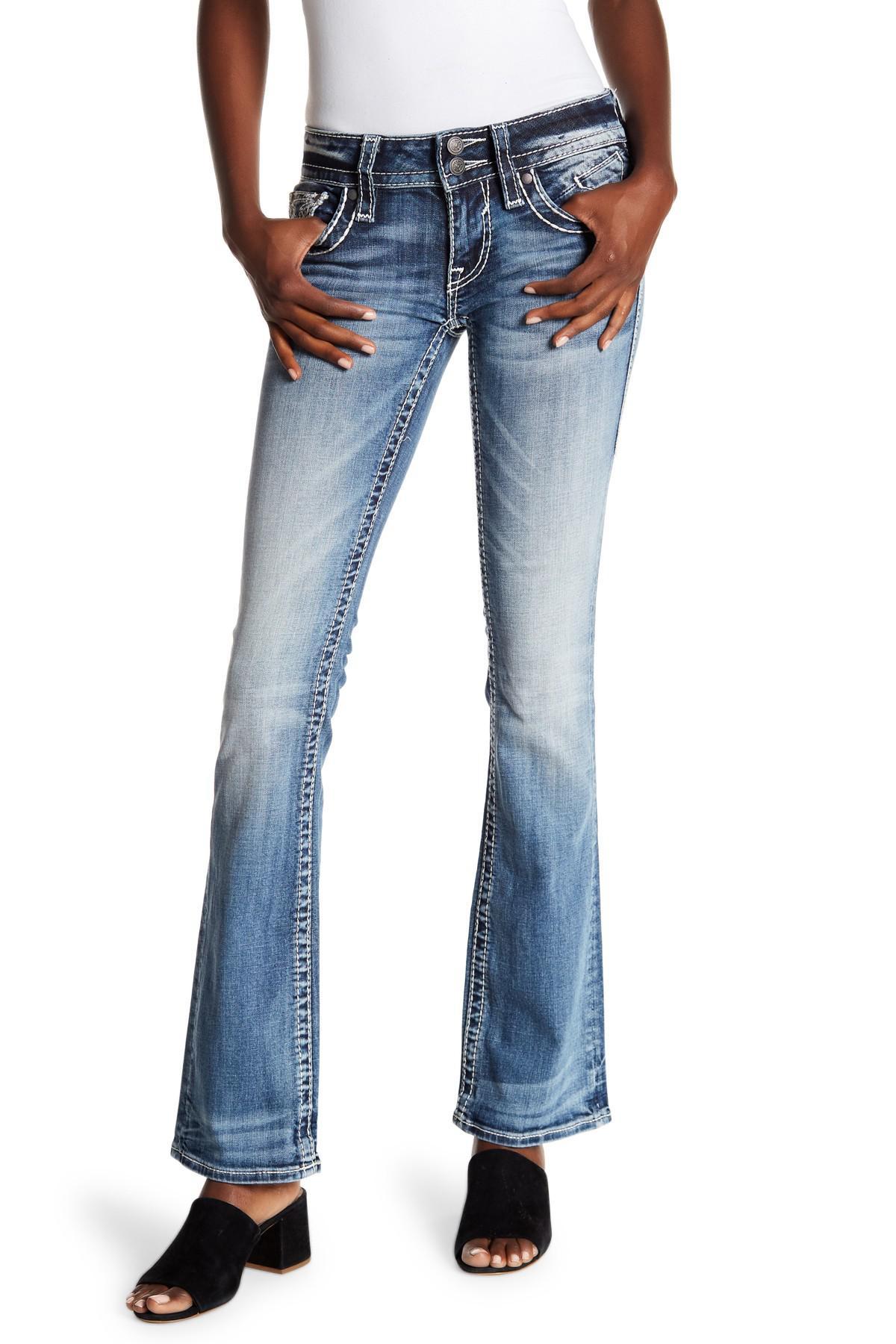 9acdcd2c178b9 Lyst - Vigoss Medium Wash Embellished Boot Cut Jeans in Blue