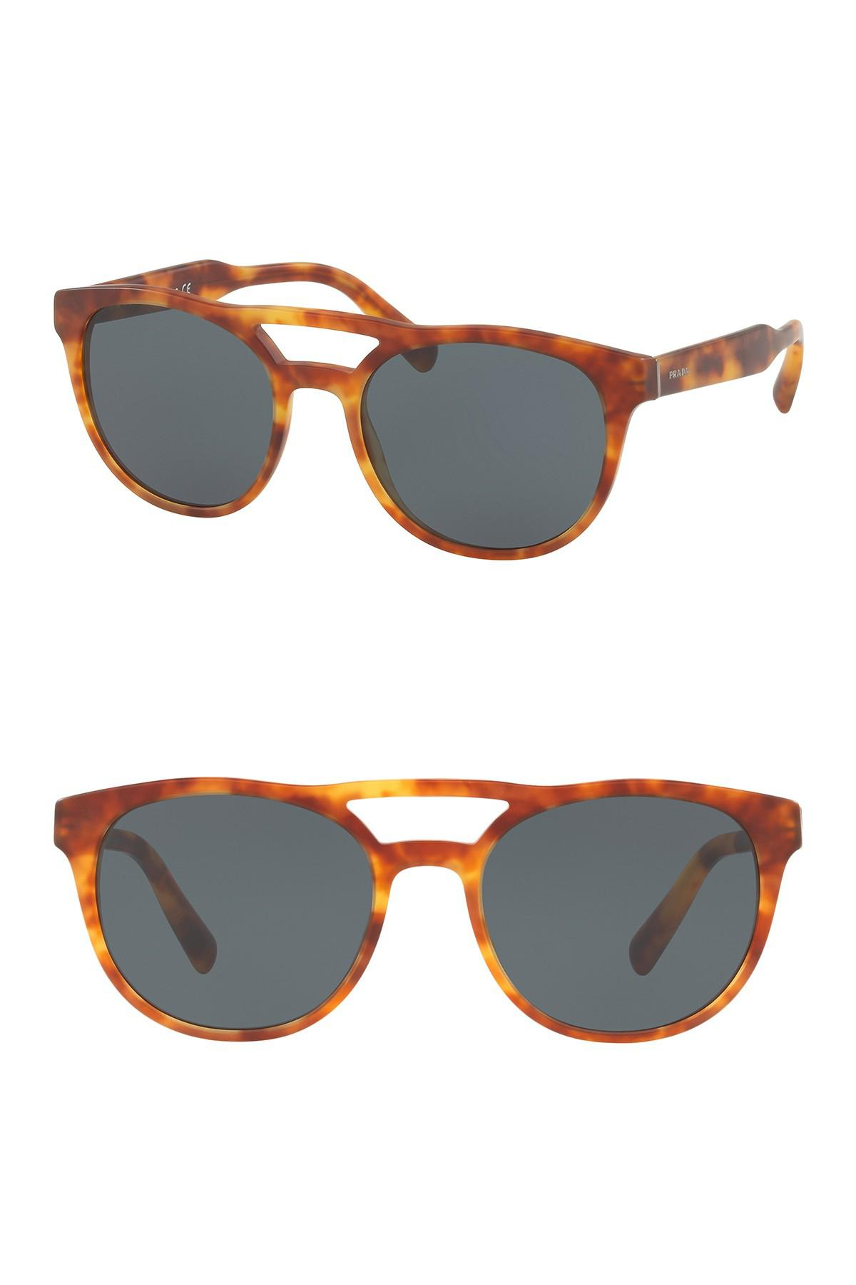 c889faeb3da7 Prada - Multicolor 54mm Round Matte Havana Sunglasses for Men - Lyst. View  fullscreen