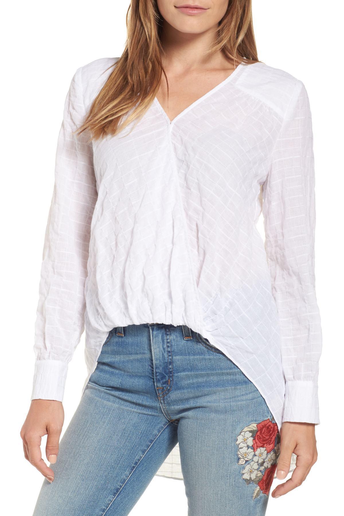 5952dda051e Lyst - Caslon (r) Faux Wrap Cotton Top (regular   Petite) in White