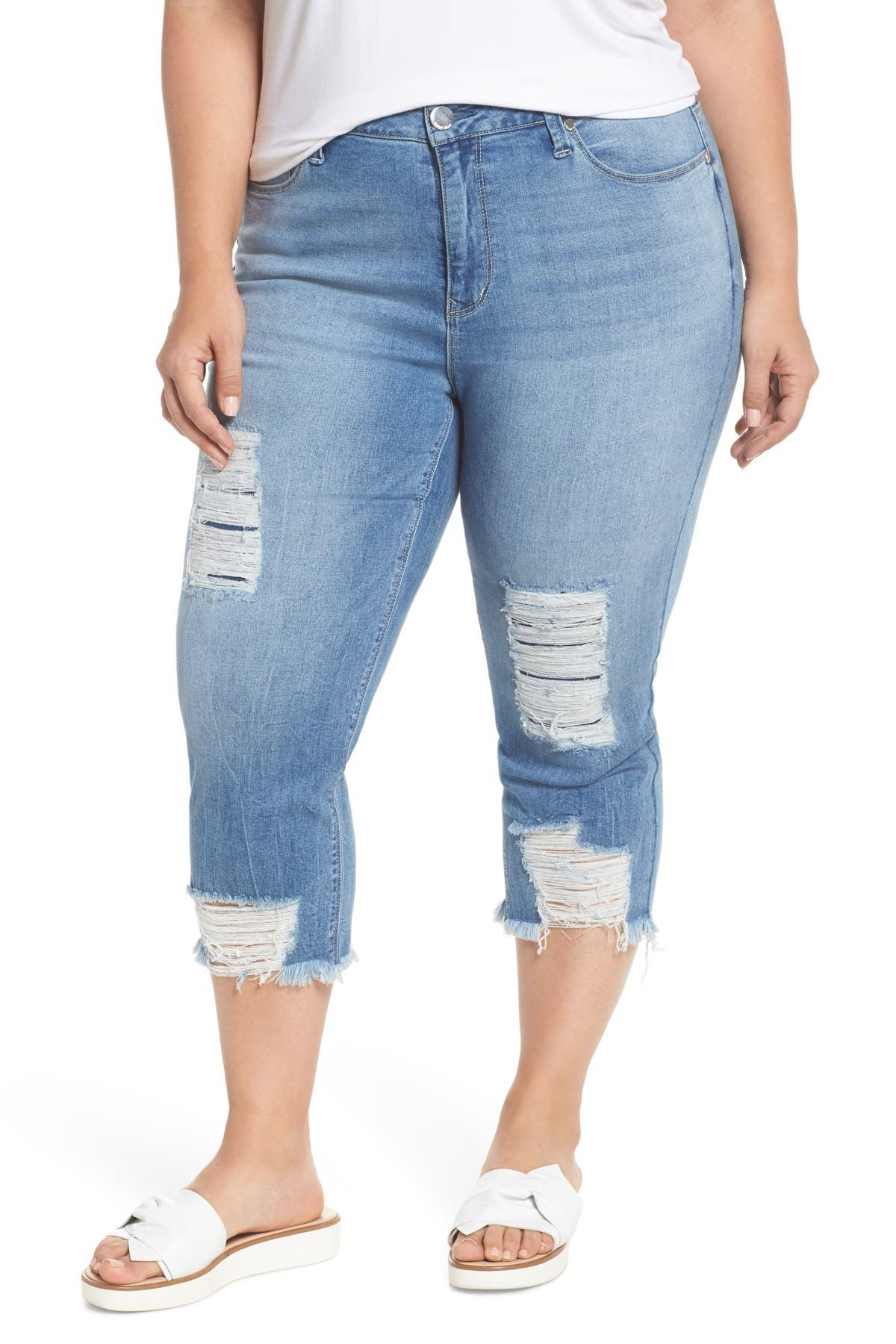 db562de415c Seven7. Women s Blue High Rise Distressed Crop Jeans (antelope) (plus Size)