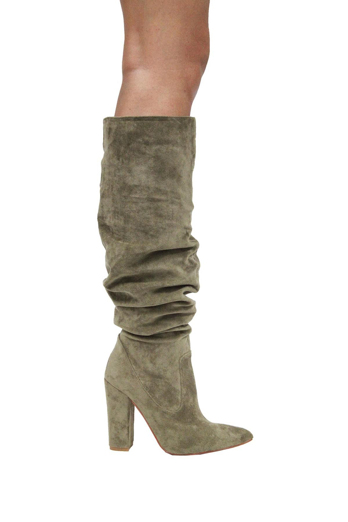 8d2e5757aa5 Lyst - Cape Robbin Beautiful Suede Pull-on Block Heel Tall Boot in Green