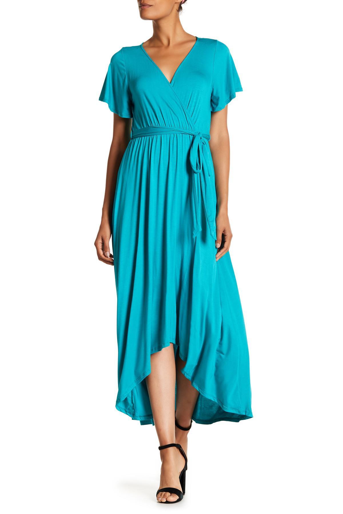 ace468c280c Lyst - West Kei Hi-lo Knit Wrap Dress in Blue