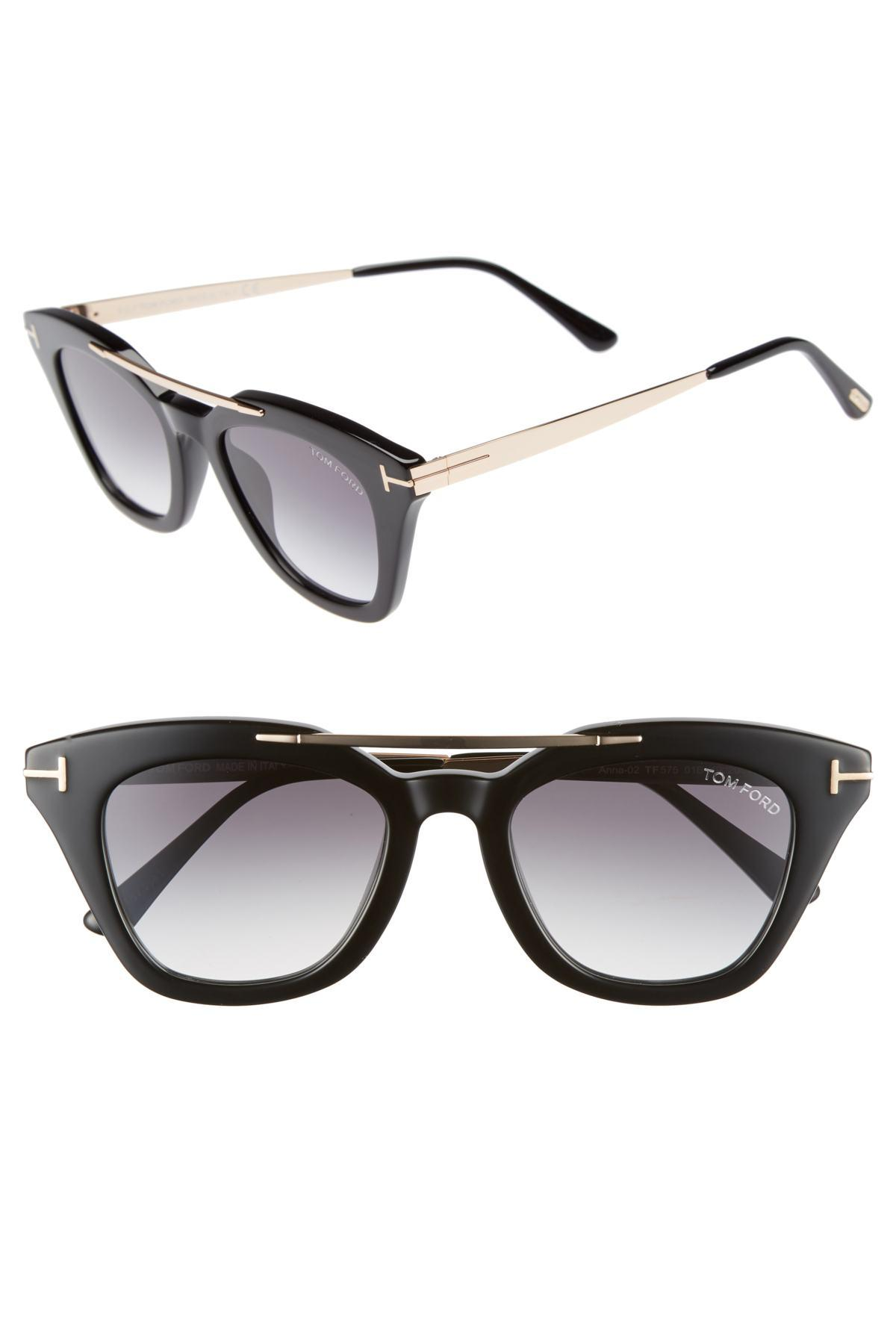 fe1c4fd2d4 Lyst - Tom Ford Anna 49mm Gradient Sunglasses in Black