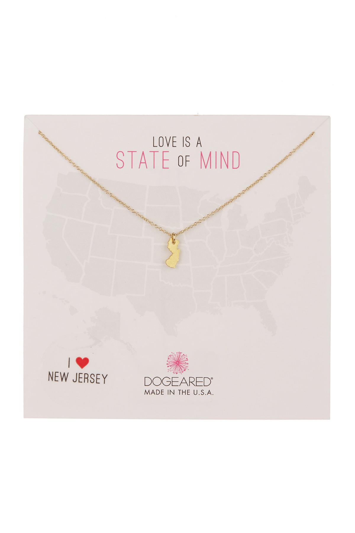 Lyst dogeared state of mind new jersey pendant necklace in metallic dogeared womens metallic state of mind new jersey pendant necklace aloadofball Image collections