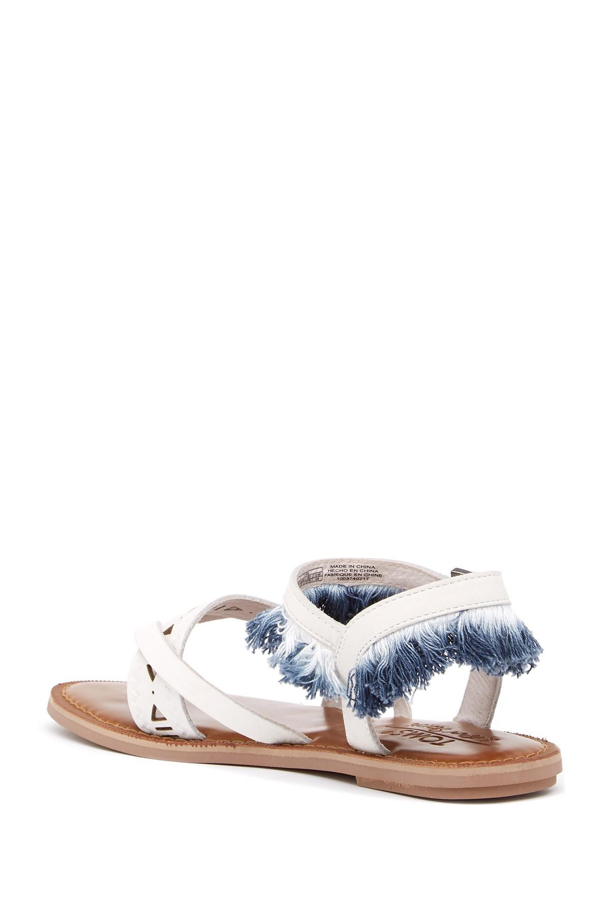 TOMS Lexie Fringe Leather Thong Sandal YZ2pLU1