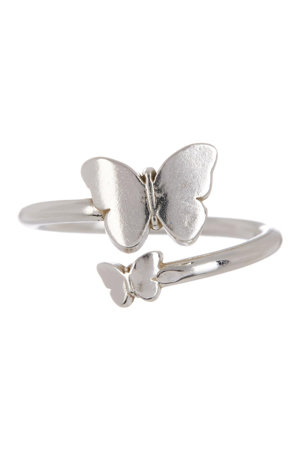 Lyst Alex And Ani Sterling Silver Butterfly Wrap Ring In