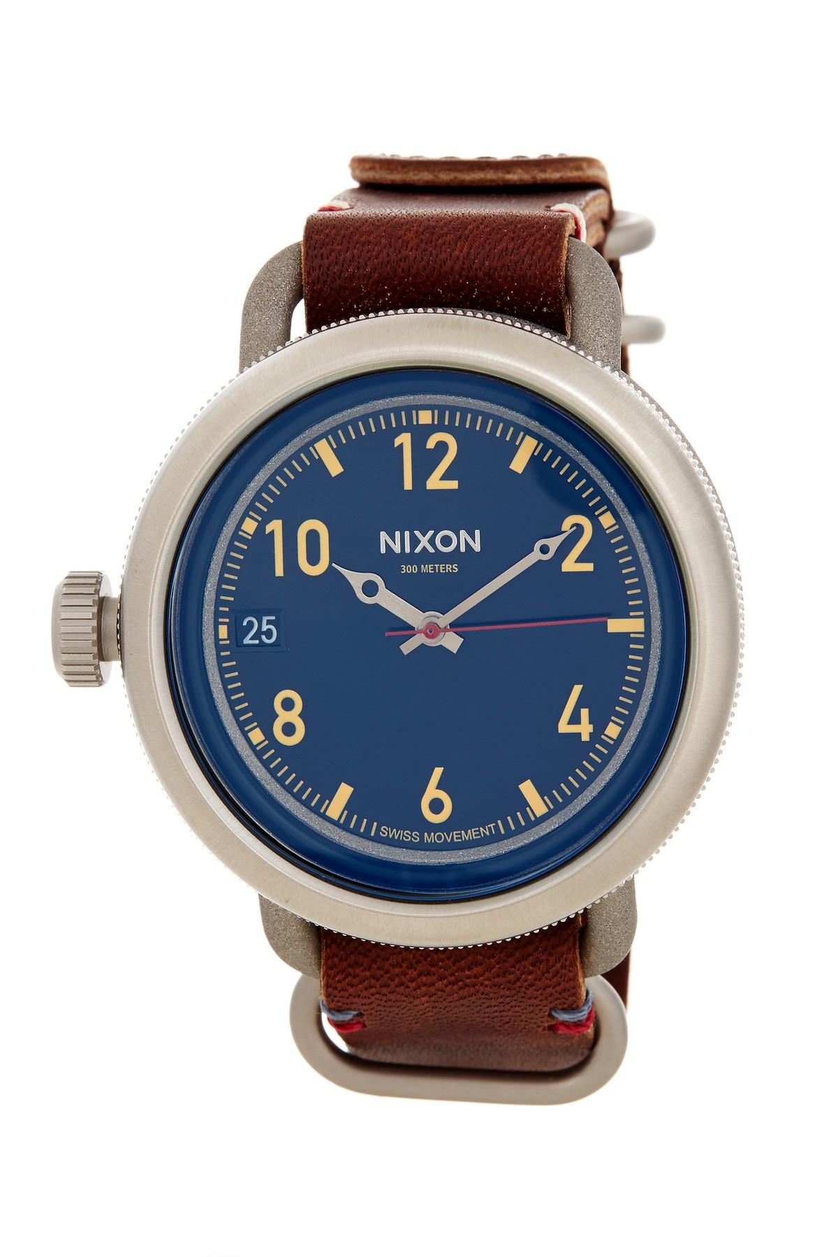 Nixon men 39 s october anti glare swiss quartz leather strap watch in multicolor for men no color for Anti reflective watches