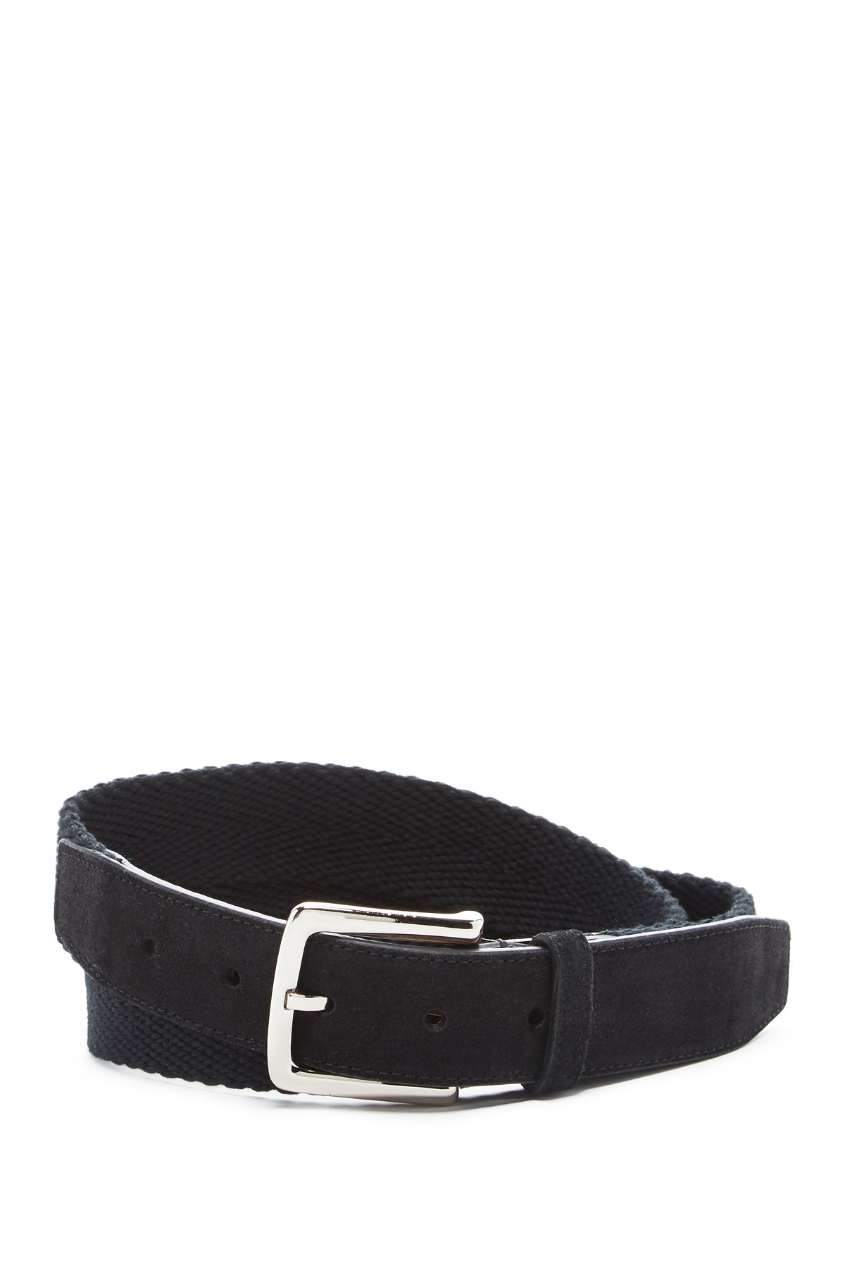cole haan woven leather belt in black for lyst