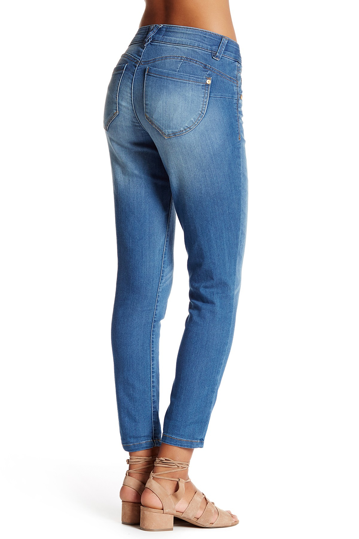 Lyst democracy light denim cropped jean in blue for Ladies light denim shirt