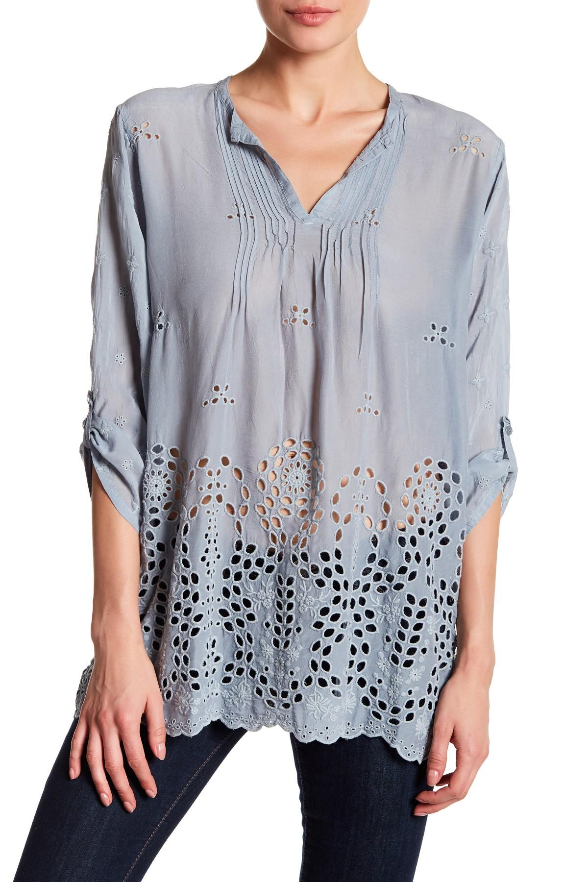 Johnny Was Long Sleeve Embroidered Shirt In Blue Lyst
