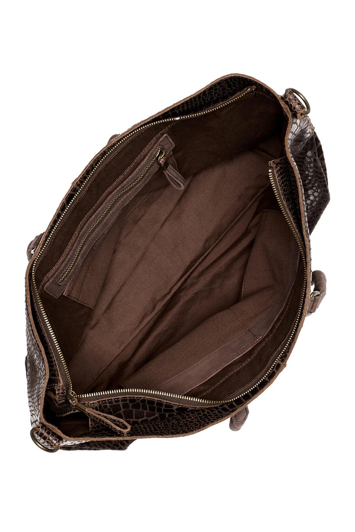 liebeskind berlin chelsea croc embossed leather tote in brown lyst. Black Bedroom Furniture Sets. Home Design Ideas