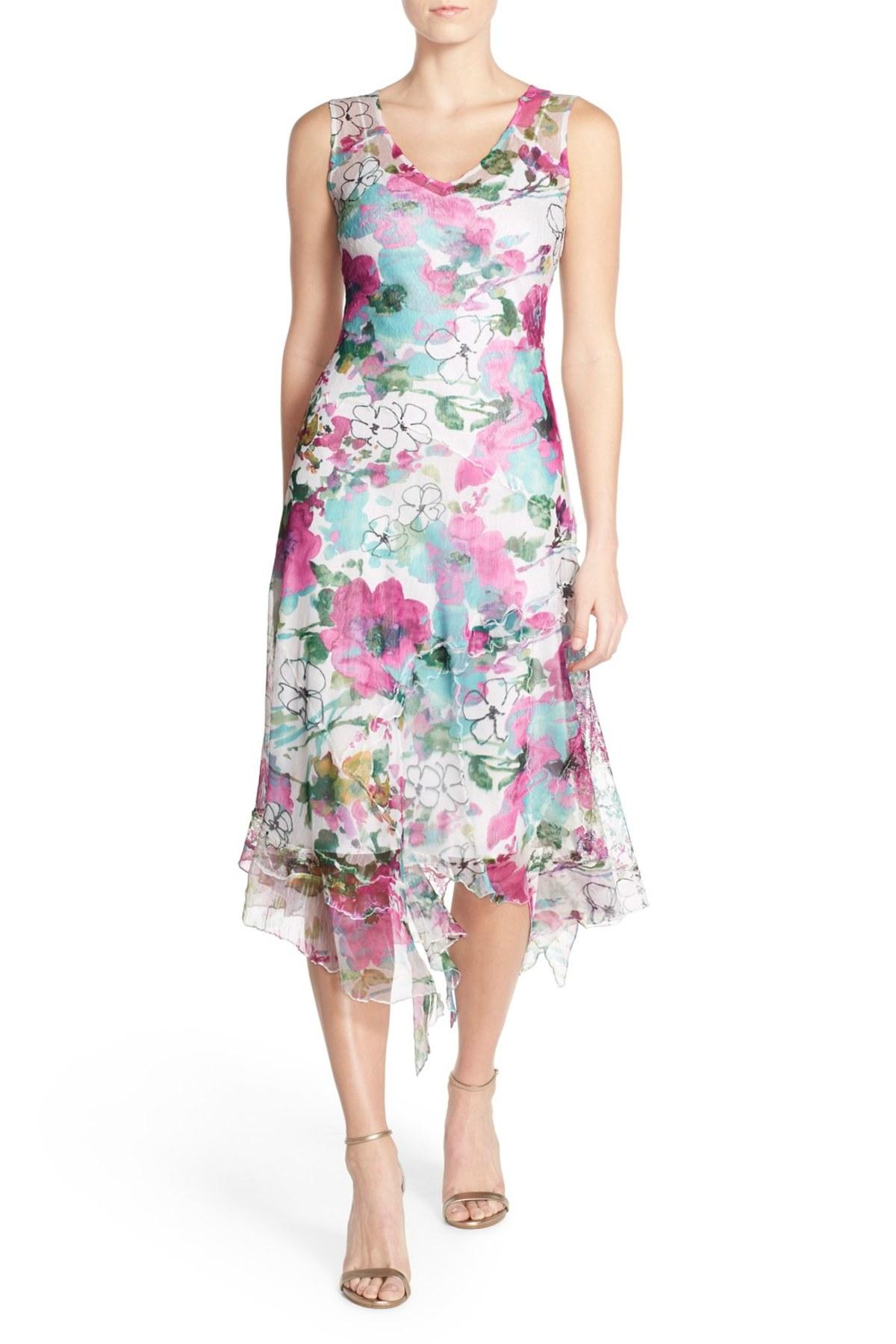 Komarov Floral Print Chiffon A Line Dress Amp Shawl In