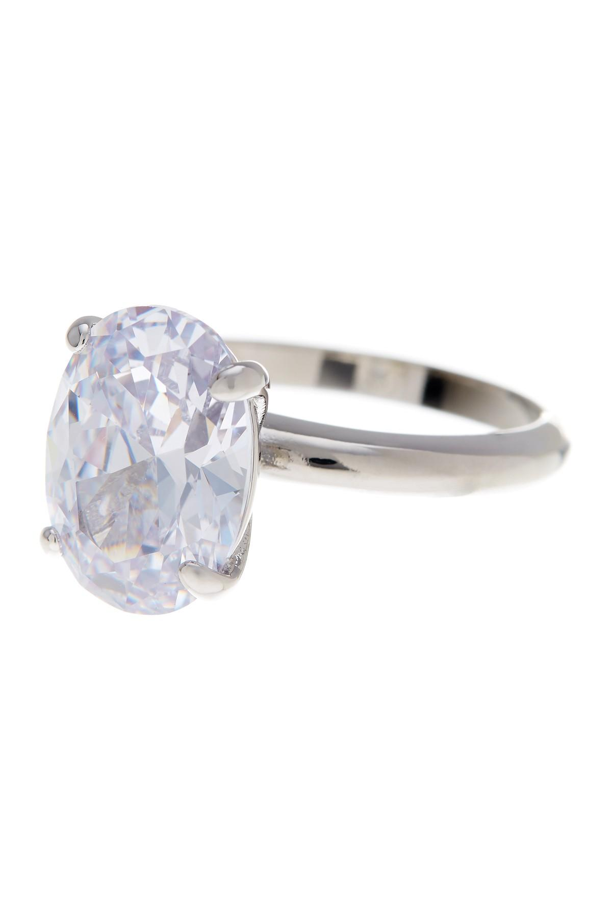 Lyst Ariella Collection Cz Bold Oval Band Ring In Metallic