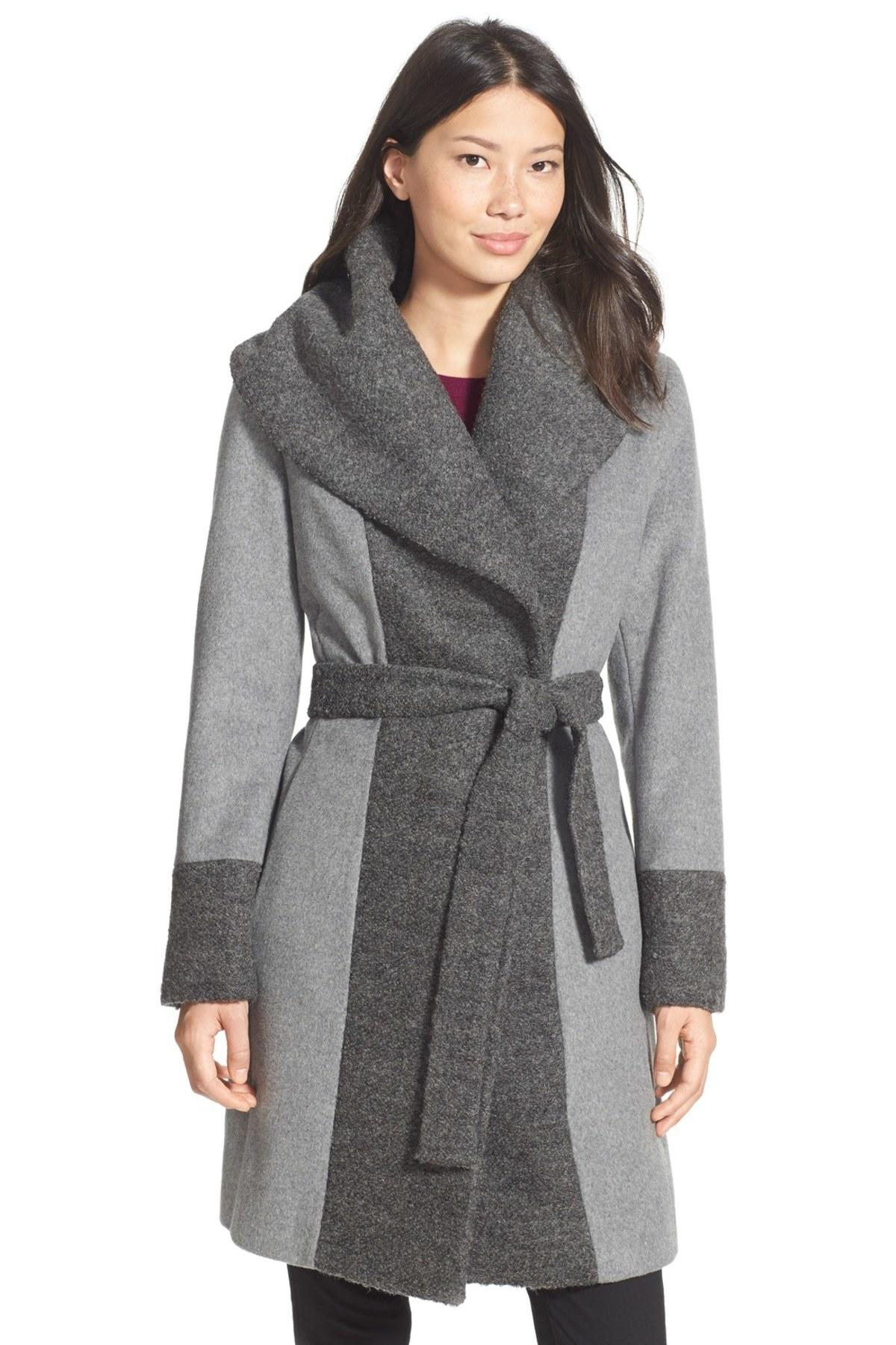 Calvin Klein Boucle Trim Hooded Wrap Coat In Gray Save