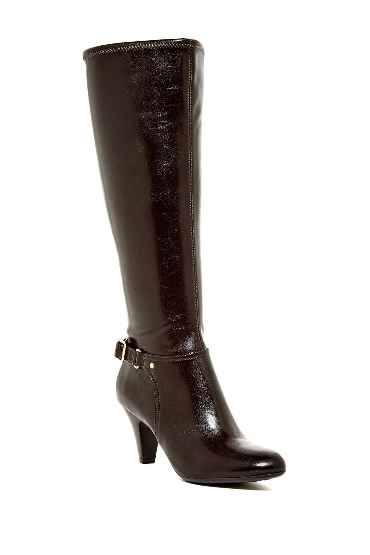 naturalizer britta wide calf boot in brown lyst