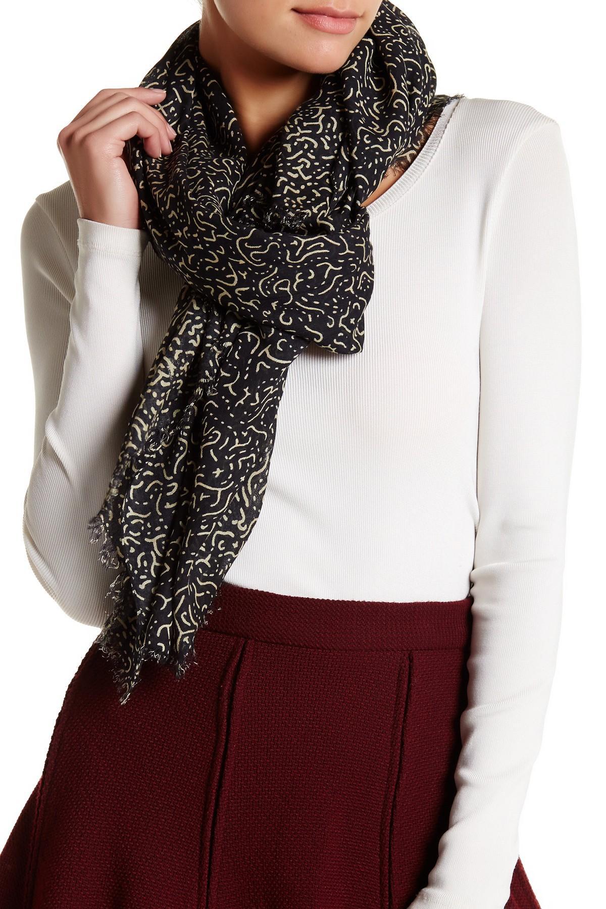 Knitting Accessories Australia : Lyst roffe accessories slash dot knit scarf in black