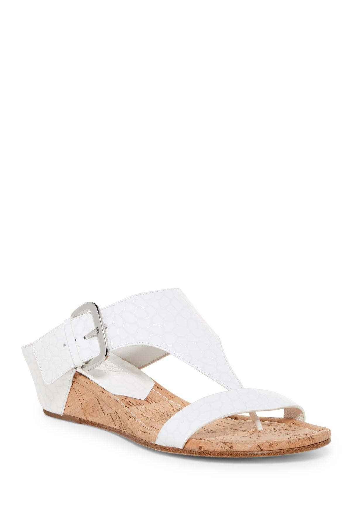 36a40e6a9811 Lyst - Donald J Pliner Doli 3 Embossed Wedge Sandal in White