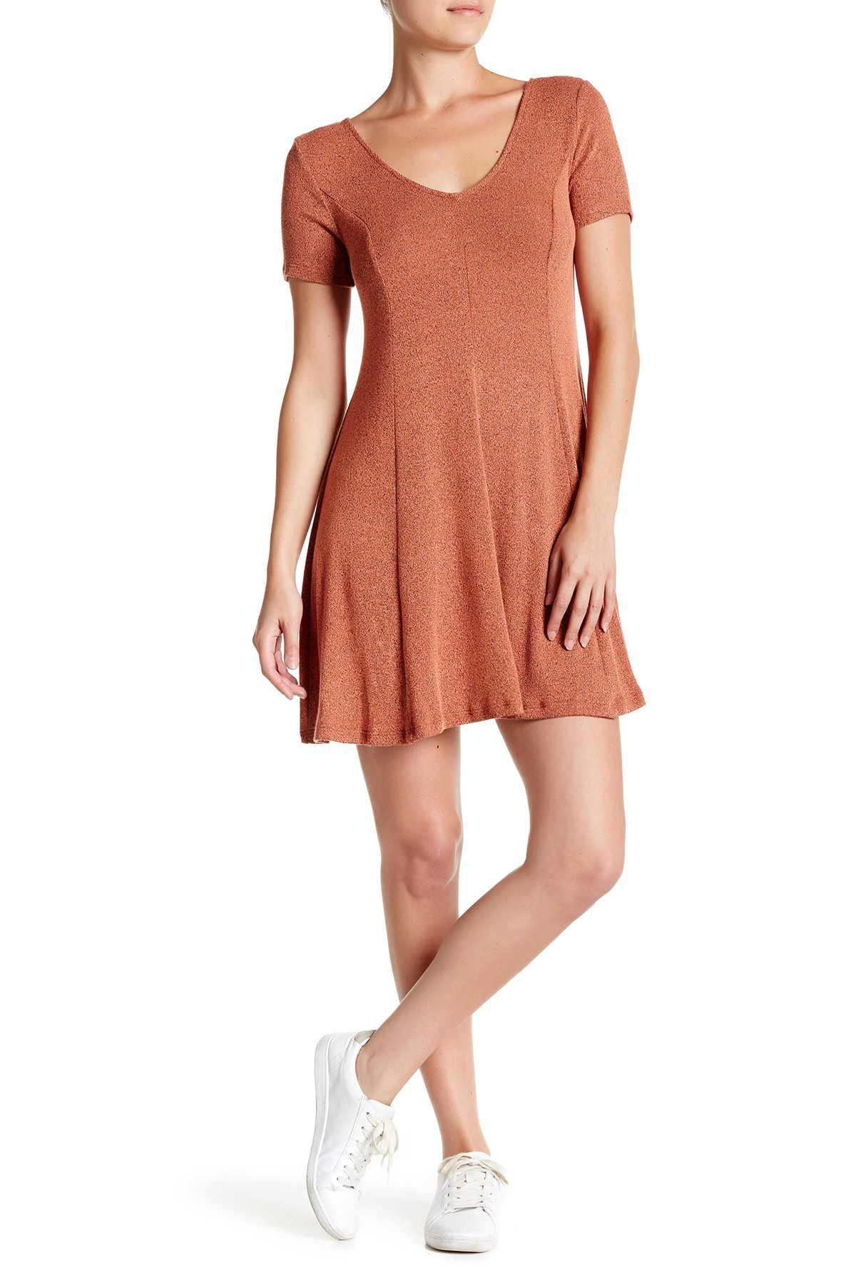 Lush Crossed Back Fit & Flare Dress in Orange | Lyst
