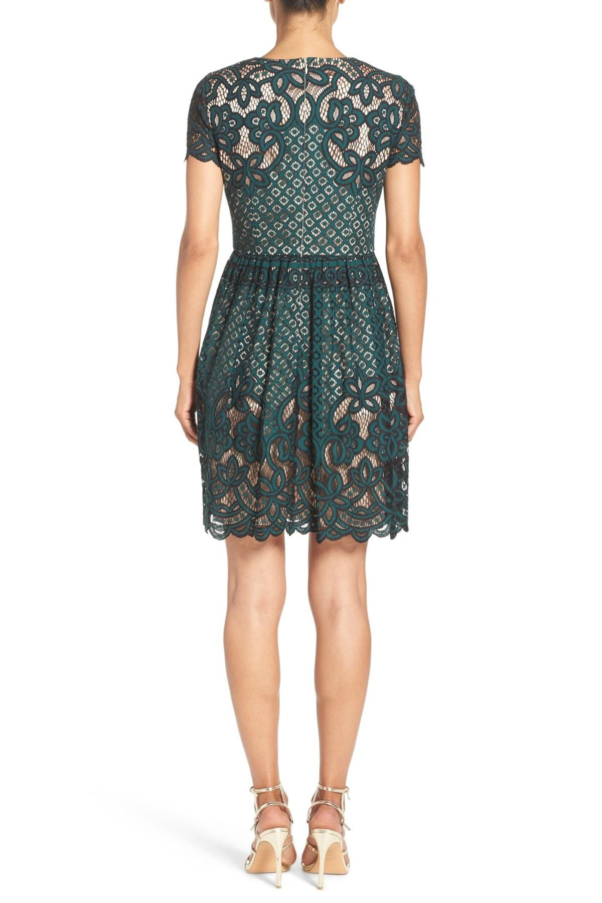 Lyst Eliza J Lace Fit Amp Flare Dress In Green
