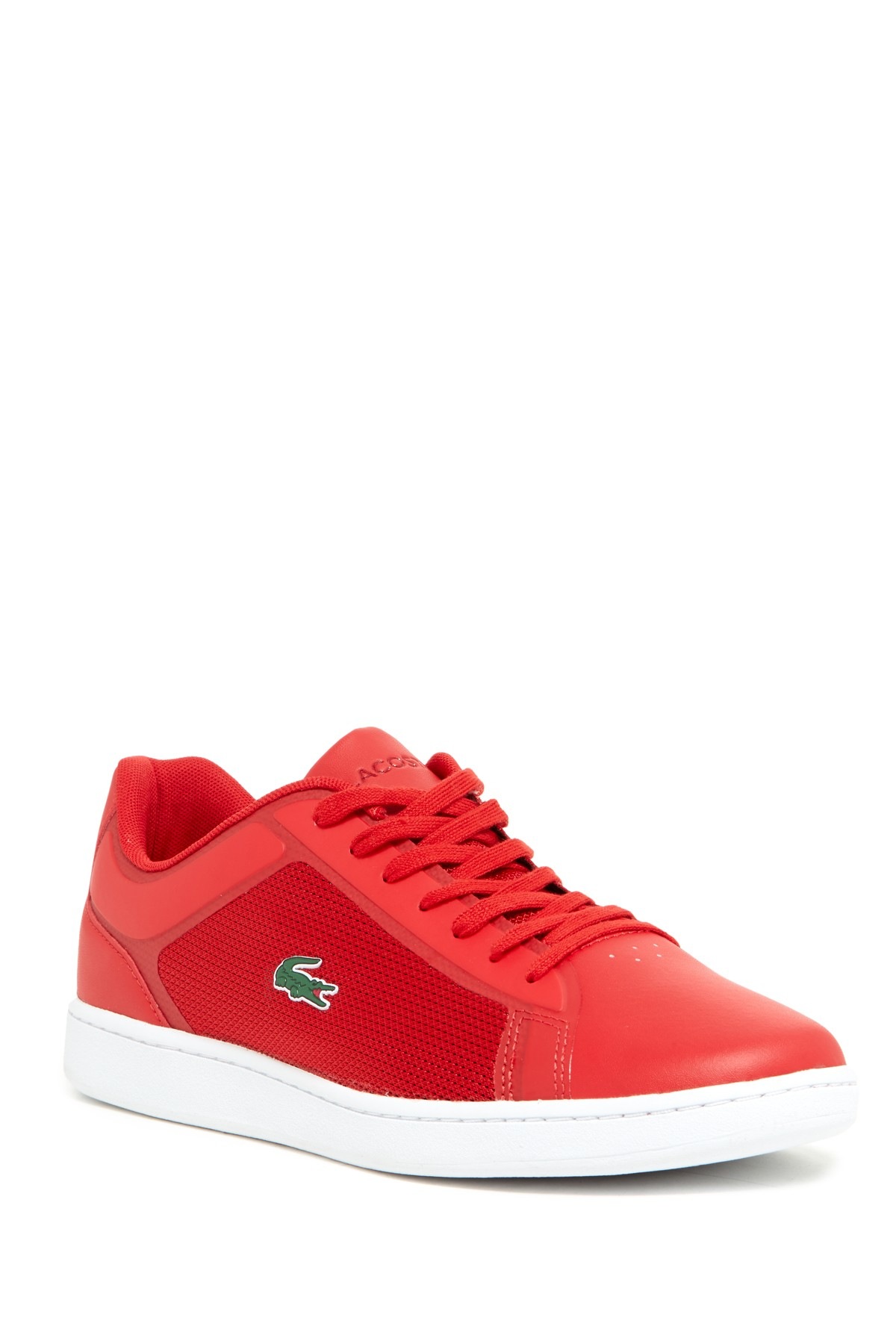 lacoste endliner laceup sneaker in red for men lyst