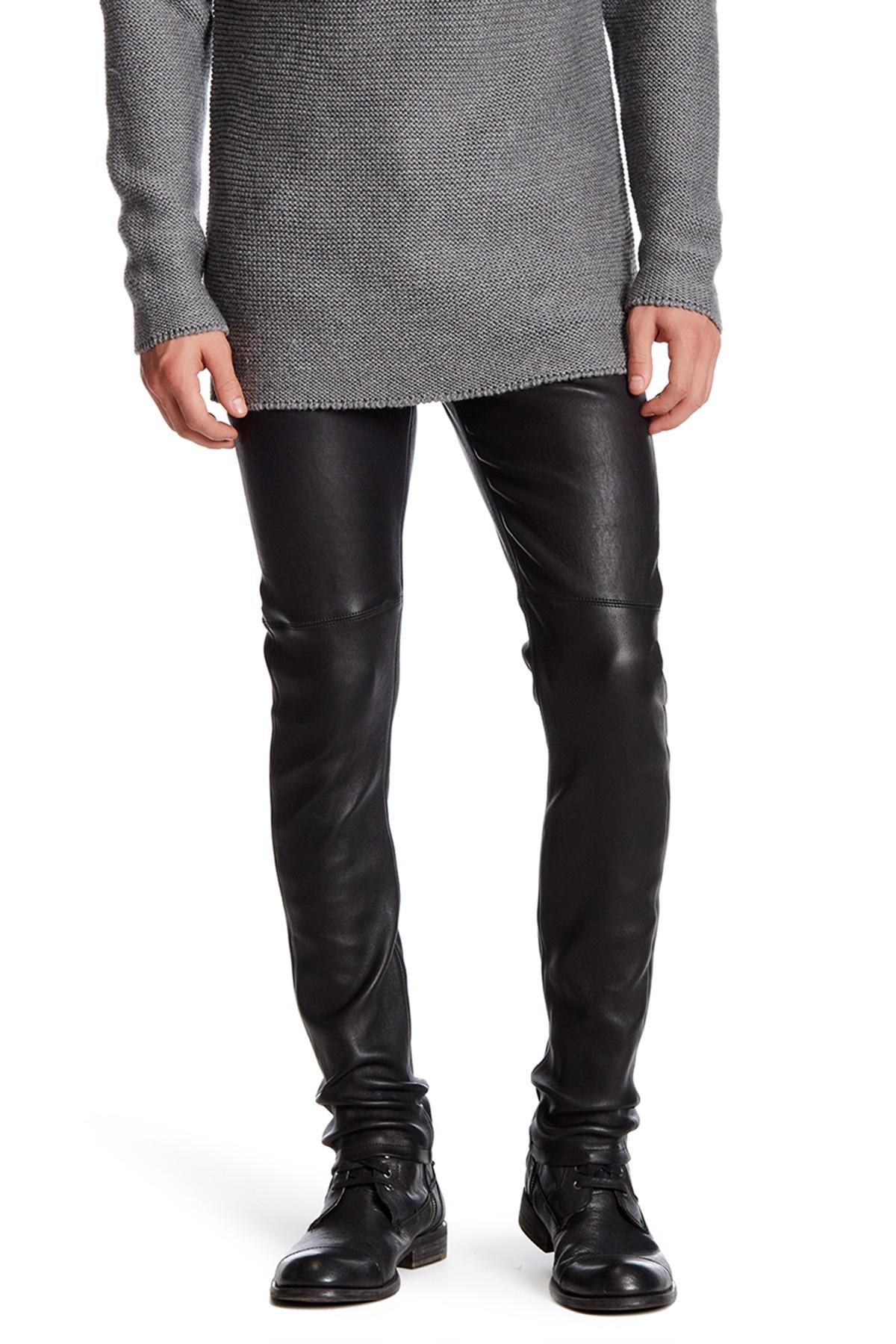 Lyst Helmut Lang Genuine Leather Skinny Pant In Black