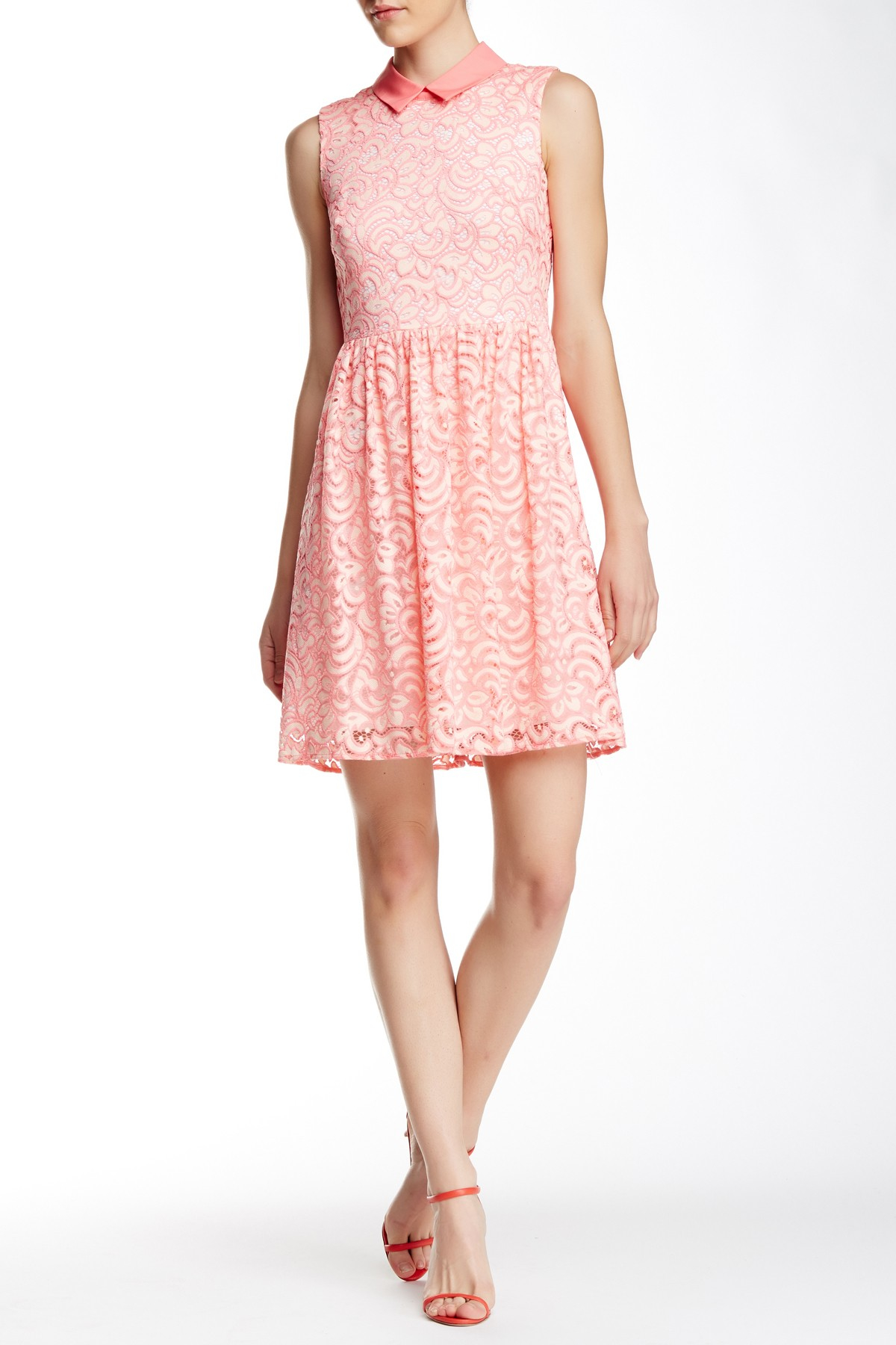 Betsey johnson lace collar dress in pink lyst for Nordstrom rack dresses pour mariage