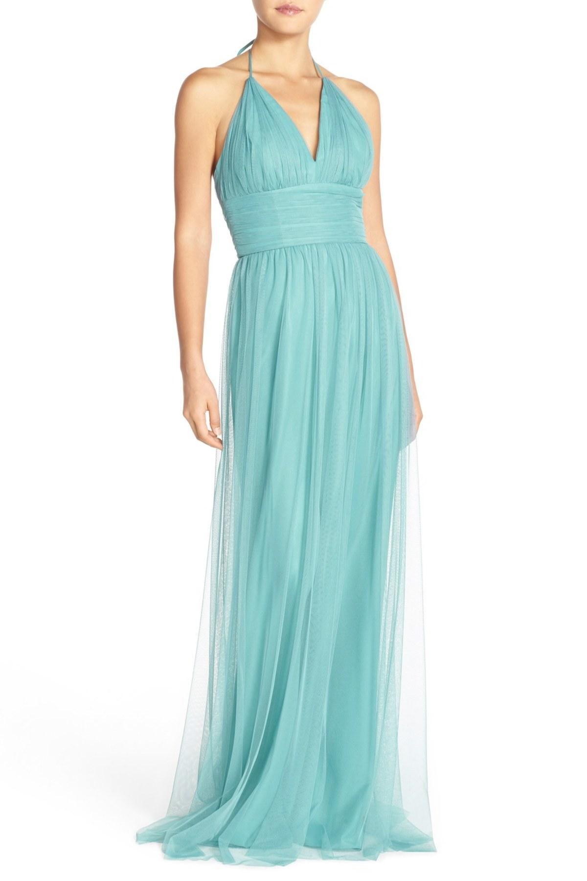Lyst - Amsale \'astrid\' Tulle Empire Waist Halter Gown in Blue