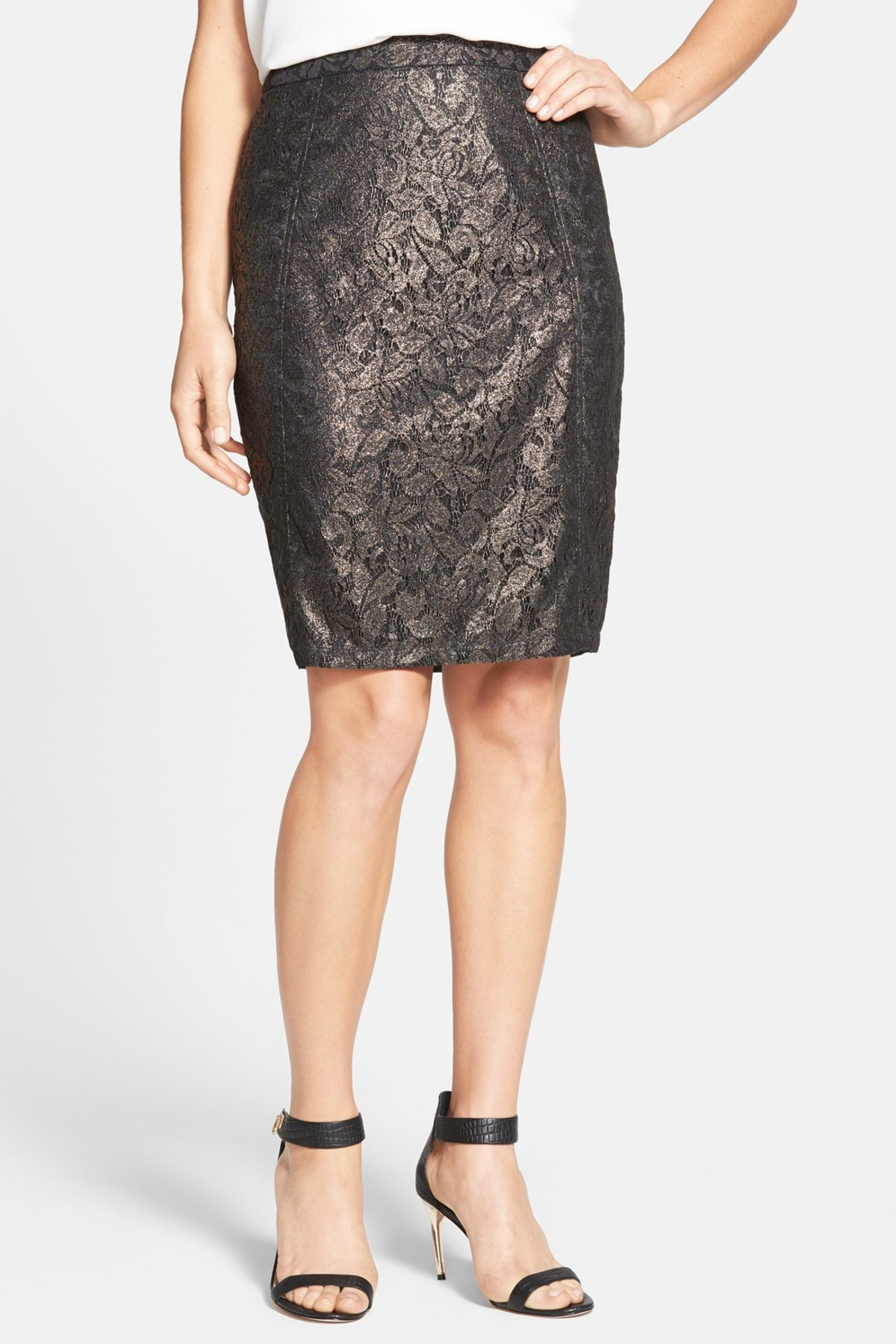 5723413893 Lyst - Halogen Seamed Pencil Skirt (petite) in Black