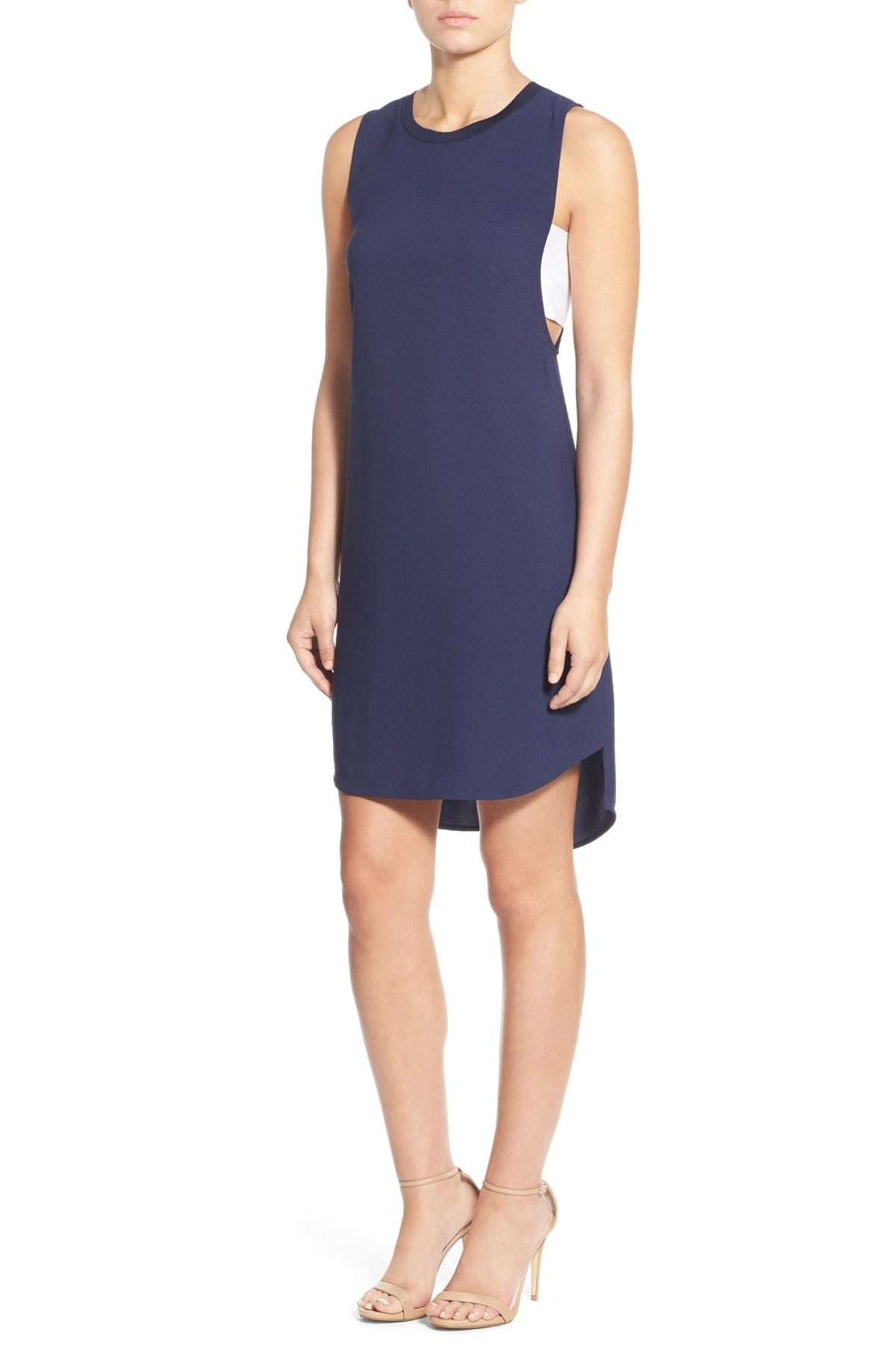 Trouv banded high low shift dress in blue lyst for Nordstrom rack dresses pour mariage