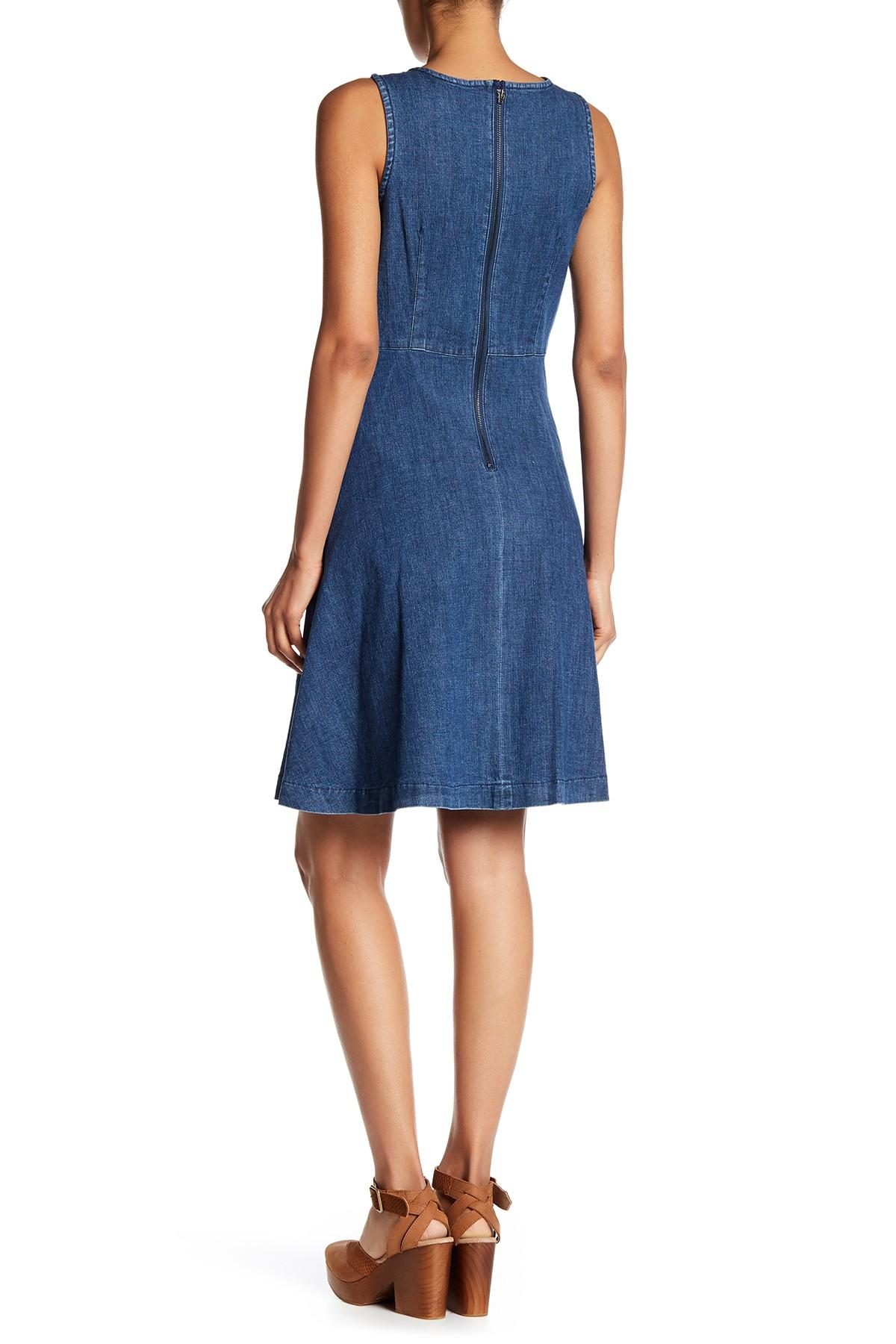 lyst  sharagano sleeveless denim dress in blue