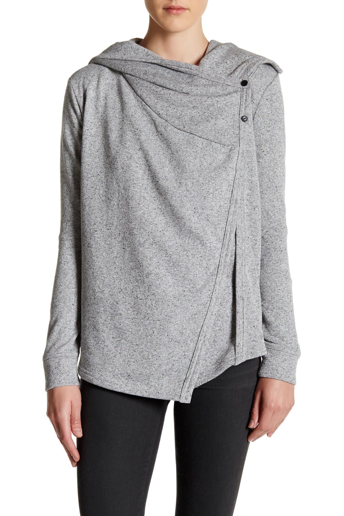 Love Stitch Long Sleeve Cowl Neck Cardigan In Gray Lyst