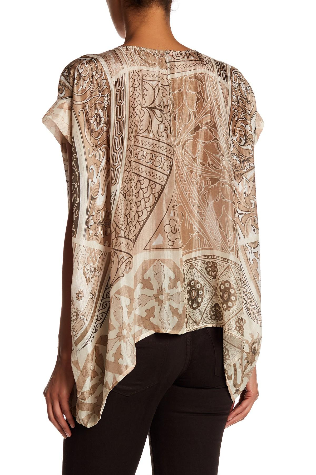 Lyst Johnny Was Neil Button Down Silk Blouse