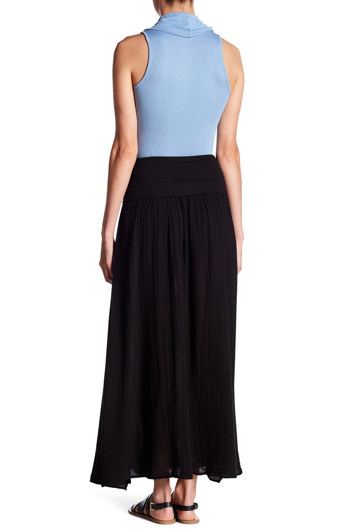 Lyst Three Dots Gathered Maxi Skirt In Black