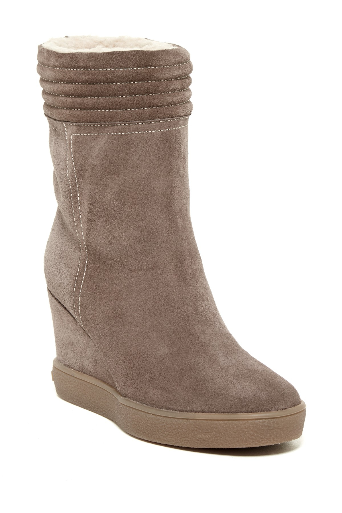 aquatalia caitlin faux fur wedge boot lyst