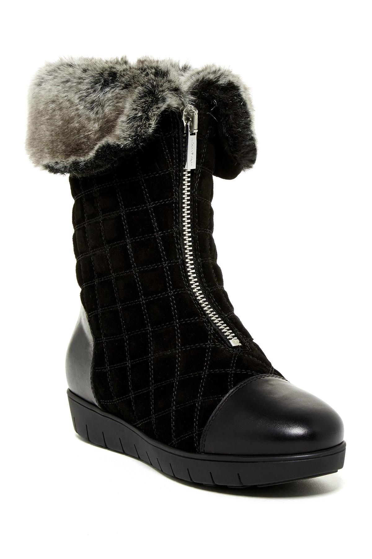 aquatalia wanda faux fur lined boot in black lyst