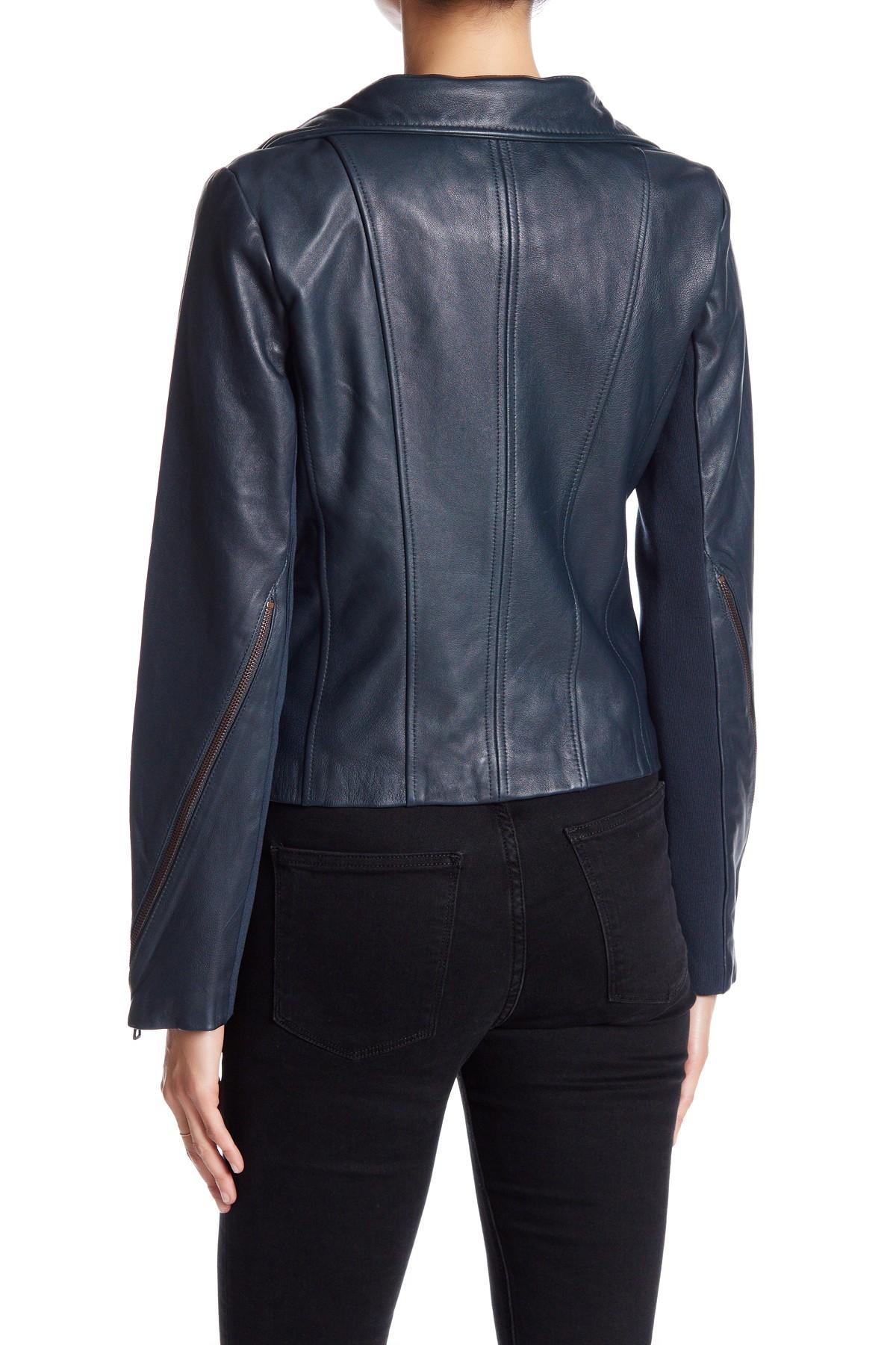 Sam Edelman Zip Off Collar Genuine Leather Moto Jacket In
