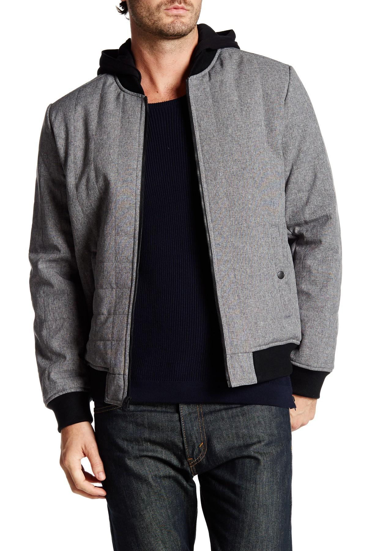 Levi S Hooded Box Quilted Bomber Jacket In Gray For Men Lyst
