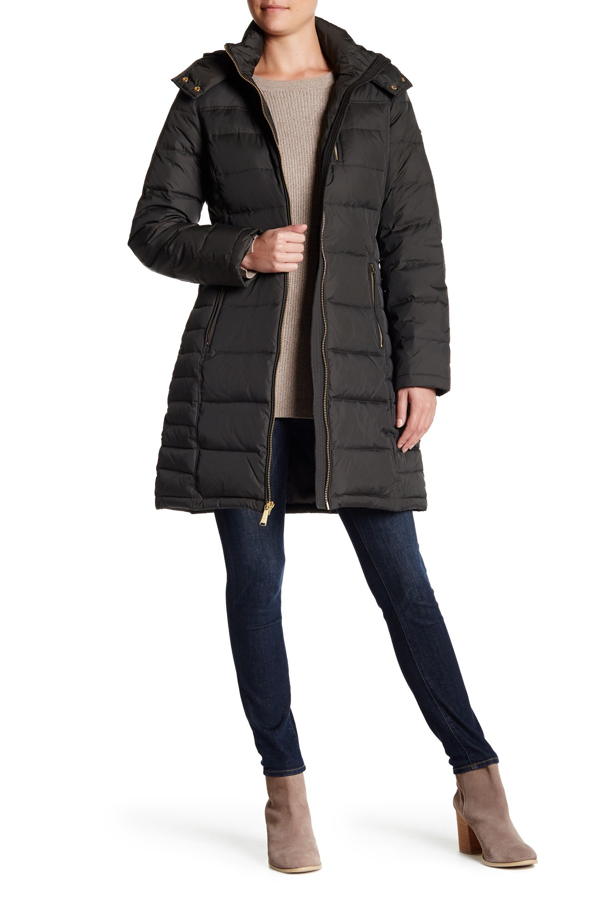 Lyst Michael Kors Hooded Down Amp Feather Quilted Coat In
