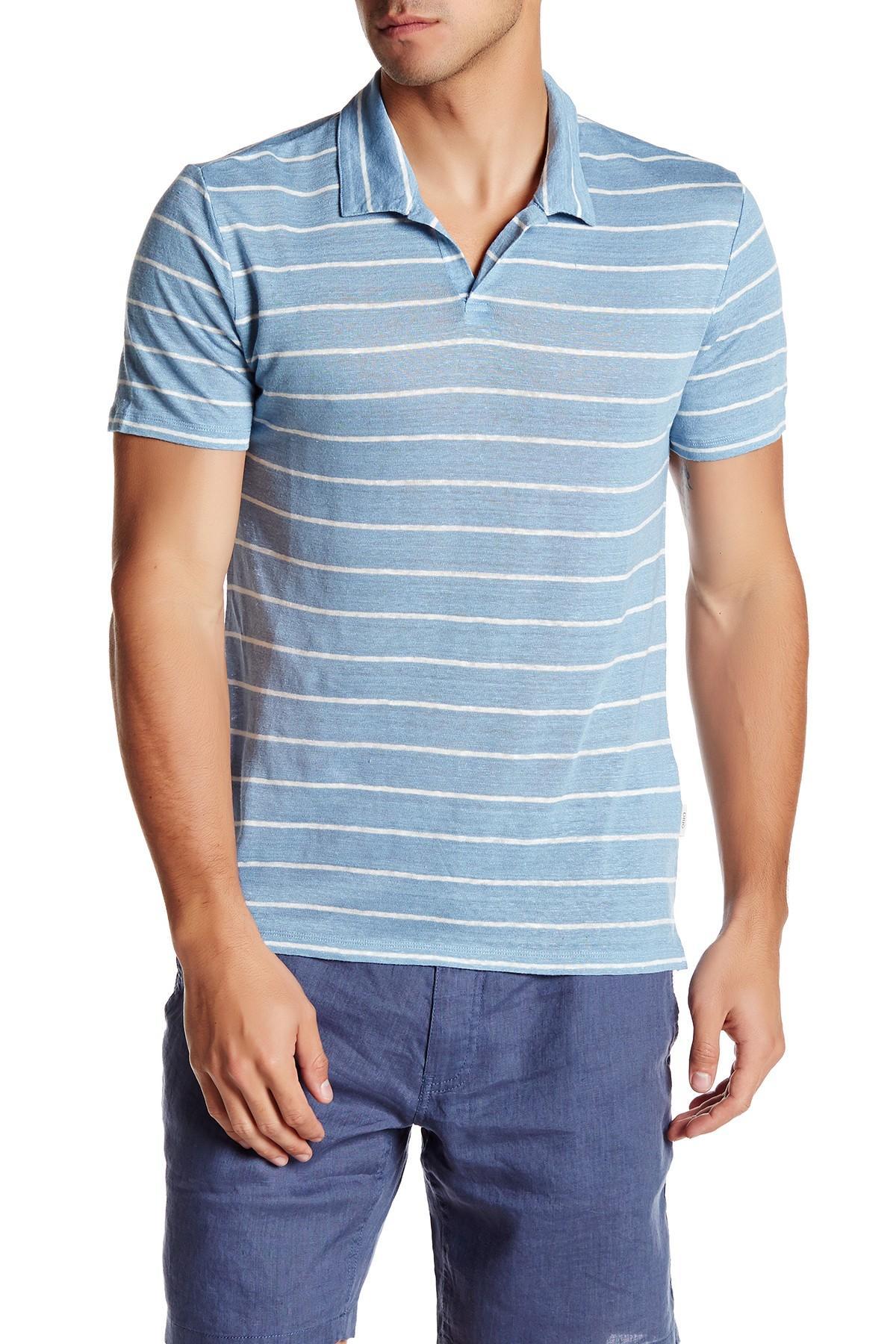 Onia Shaun Stripe Linen Polo In Blue For Men Lyst