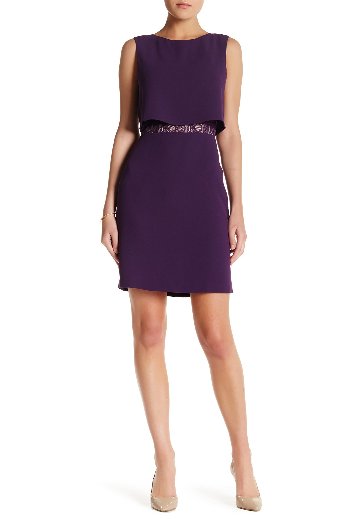 Marc new york lace inset dress in purple ryl purple for Nordstrom rack new york