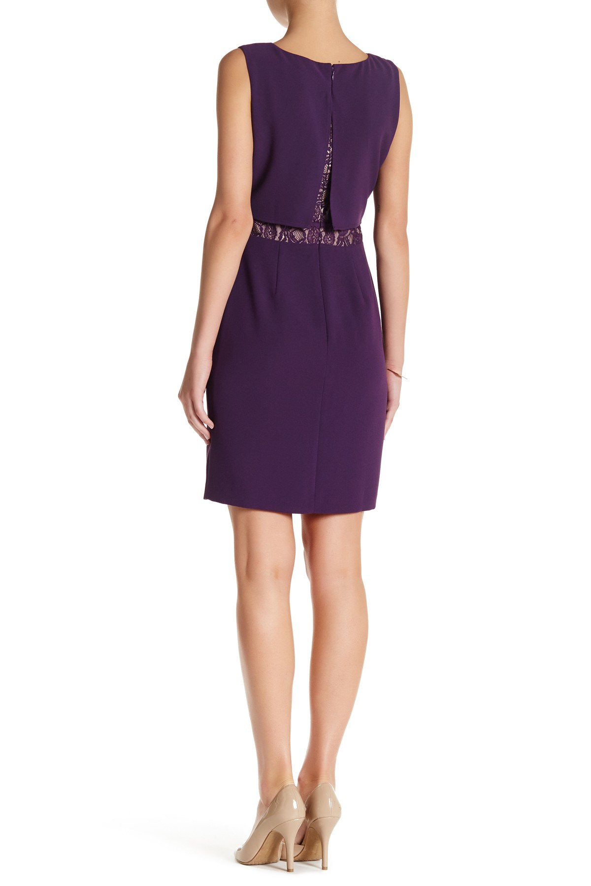 Lyst marc new york lace inset dress in purple for New york and company dress shirts